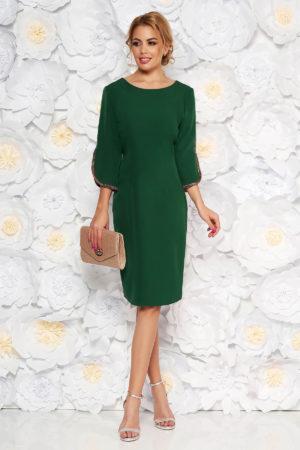Rochie verde de ocazie tip creion cu maneci decupate si decolteu barcuta pentru femei plinute