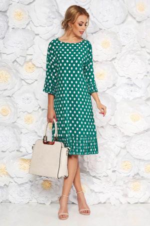 Rochie de zi verde cu buline albe mici intr-o croiala larga cu maneci stil clopot