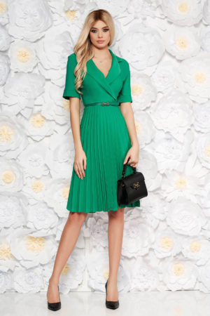Rochie midi verde office de zi eleganta cu maneci scurte realizata din material vaporos cu fusta plisata