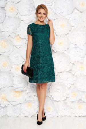 Rochie lejera verde inchis de ocazie cu croi larg realizata din dantela cu paiete si maneci scurte