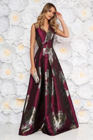 Rochie de ocazie lunga eleganta visinie cu imprimeu floral si decolteu in v realizata din tafta lucioasa