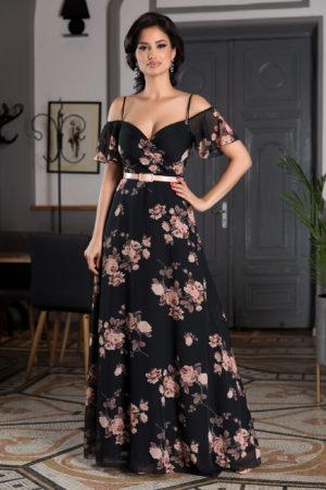Rochie lunga neagra cu imprimeu floral potrivita pentru evenimente cochete de primavara sau vara Althea