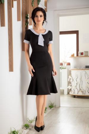 Rochie neagra eleganta midi de office cu maneci scurte si guler alb Amaris