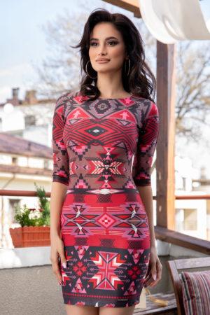 Rochie scurta eleganta de primavara de culoare rosie cu imprimeu geometric Amelya