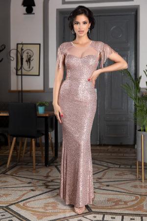 Rochie lunga roz eleganta cu paiete si aplicatii de tull delicat Athena