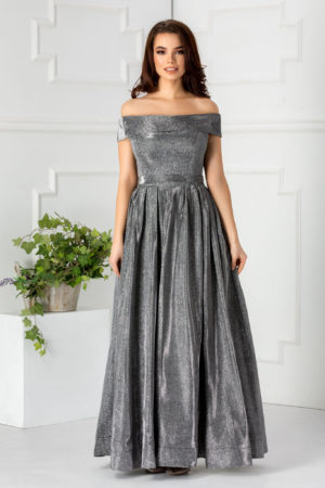 Rochie de seara argintie lunga pana in pamant cu bust buretat si umeri goi Atlanta