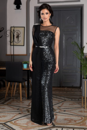 Rochie neagra de seara realizata din paiete si voal accesorizata cu strass-uri si curea in talie Attraction