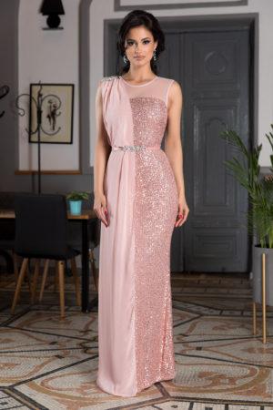 Rochie roz de seara realizata din paiete si voal accesorizata cu strass-uri si curea in talie Attraction