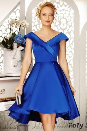 Rochie eleganta albastra asimetrica de seara cu decolteu adanc in V si fusta baby doll Beautiful