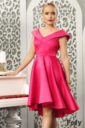Rochie eleganta roz ciclam asimetrica de seara cu decolteu adanc in V si fusta baby doll Beautiful