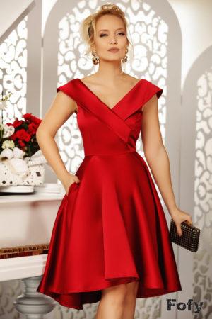 Rochie eleganta rosie asimetrica de seara cu decolteu adanc in V si fusta baby doll Beautiful