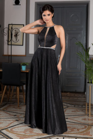 Rochie de seara neagra lunga pana in pamant cu aplicatii de strass-uri in zona taliei si a decolteului Belinda