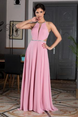 Rochie de seara roz lunga pana in pamant cu aplicatii de strass-uri in zona taliei si a decolteului Belinda