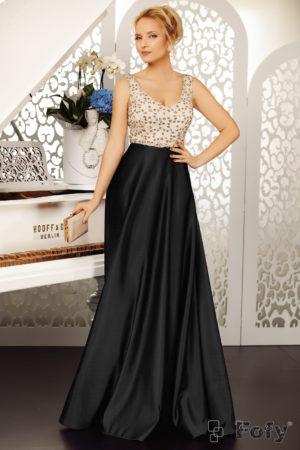 Rochie de seara neagra stil printesa cu fusta lunga din tafta si bust decorat cu paiete Belissima
