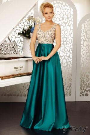 Rochie de seara verde stil printesa cu fusta lunga din tafta si bust decorat cu paiete Belissima