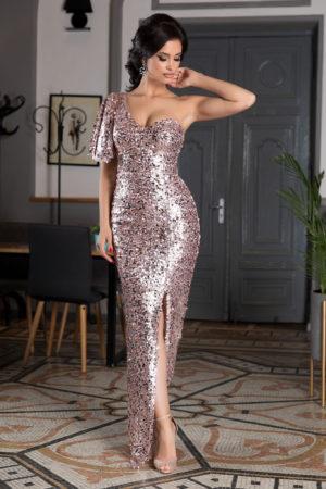 Rochie de seara roz lunga cu bust buretat accesorizata cu paiete Bellezza