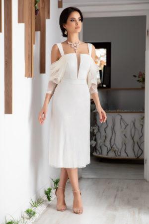 Rochie eleganta de ocazie alba confectionata din dantela si tul diafan Blanka
