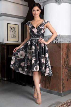Rochie asimetrica neagra cu imprimeu floral si insertii de fir argintiu prevazuta cu un bust buretat Callista