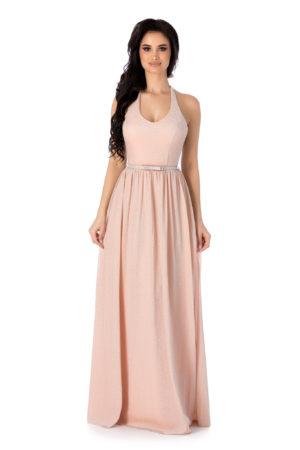 Rochie lunga roz piersica de seara cu bust buretat si curea subtire in talie Calypso