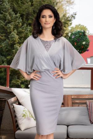 Rochie de seara gri conica prevazuta cu maneci din voal tip fluture Camille pentru femei plinute