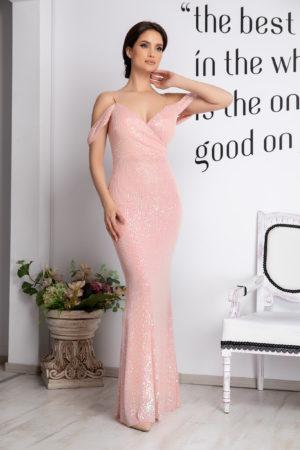 Rochie lunga tip sirena roz cu bust buretat realizata din tull si paiete Cherish