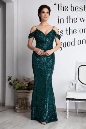 Rochie lunga tip sirena verde cu bust buretat realizata din tull si paiete Cherish