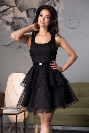 Rochie scurta neagra baby doll cu volanase accesorizata cu buline cu sclipici Clarine