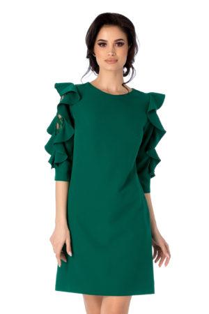 Rochie scurta verde lejera de zi cu maneci trei sferturi accesorizate cu volane si dantela Coleen