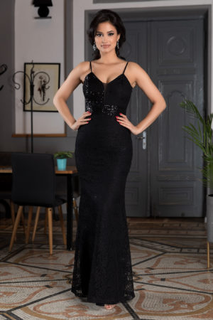 Rochie neagra lunga stil sirena de seara cu bretele subtiri si insertii de paiete elegante Crown