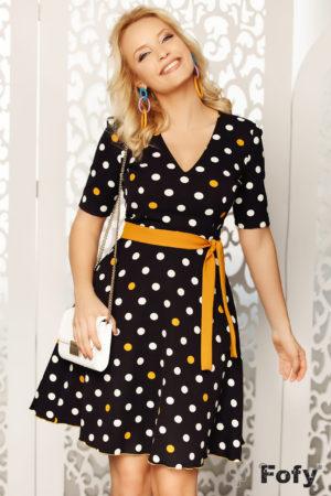 Rochie de ocazie neagra cu buline galbene ce iti pune in evidenta feminitatea Darling