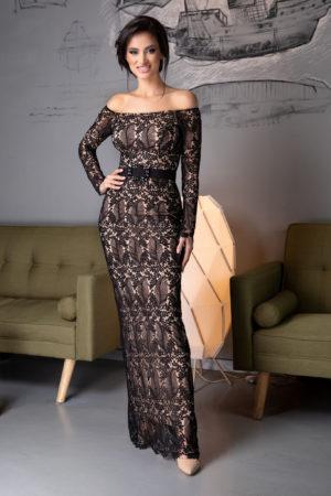 Rochie eleganta din dantela neagra pentru seara cu o croiala stil sirena si maneci lungi Davina