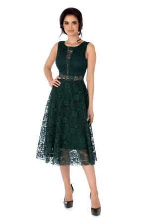 Rochie midi de ocazie verde eleganta din dantela prevazuta cu un decolteu rotund Edeline