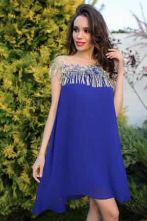 Rochie de ocazie albastra eleganta cu croiala lejera decorata cu broderie florala Edissa