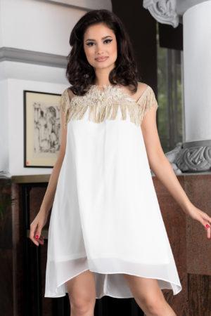 Rochie de ocazie alba eleganta cu croiala lejera decorata cu broderie florala Edissa