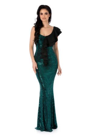 Rochie verde lunga tip sirena cu volane la umar si aplicatii de paiete Essential