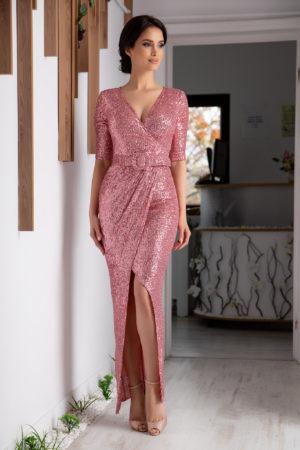 Rochie lunga roz eleganta de seara despicata in fata si accesorizata cu paiete Extasy