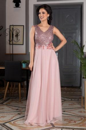 Rochie lunga roz din voal cu paiete si broderie florala Festina