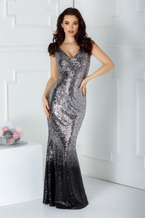 Rochie argintie lunga eleganta de seara realizata in intregime din paiete stralucitoare Flair