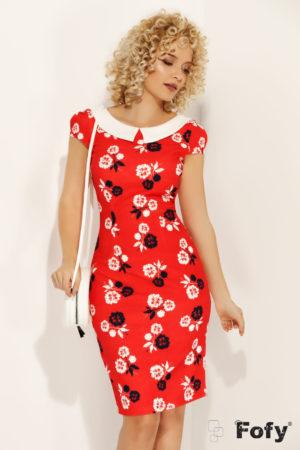 Rochie midi rosie office cu imprimeuri florale si o croiala conica despicata la spate Floriss