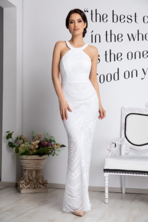 Rochie de ocazie alba eleganta cu bust buretat accesorizata cu paiete si dantela Galya
