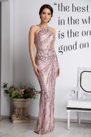 Rochie de ocazie roz eleganta cu bust buretat accesorizata cu paiete si dantela Galya