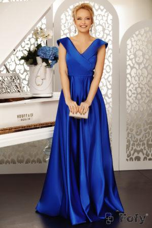 Rochie lunga albastra de seara eleganta cu decolteu in V si croiala fluida pana in pamant Goddess