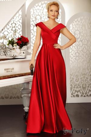 Rochie lunga rosie de seara eleganta cu decolteu in V si croiala fluida pana in pamant Goddess