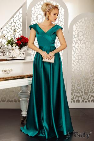 Rochie lunga verde de seara eleganta cu decolteu in V si croiala fluida pana in pamant Goddess