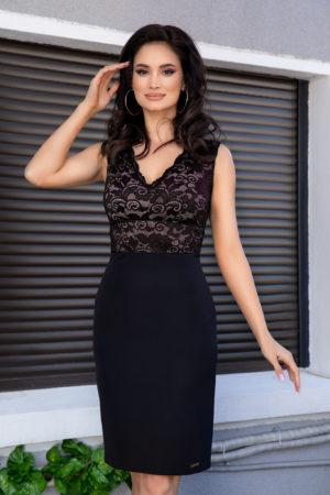 Rochie neagra scurta eleganta din dantela si material de crepe Gynna