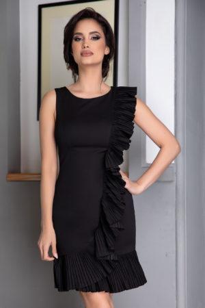 Rochie scurta neagra de zi cu volane plisate din material usor elastic Hazel