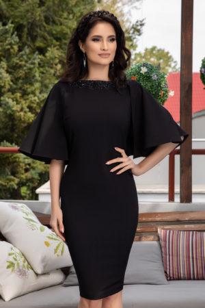 Rochie neagra conica eleganta cu maneci tip fluture pentru petreceri cocktail Hermione