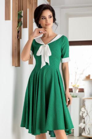 Rochie de nunta verde eleganta cu maneci scurte si fundita aplicata la guler Holly