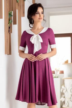 Rochie de nunta violet eleganta cu maneci scurte si fundita aplicata la guler Holly