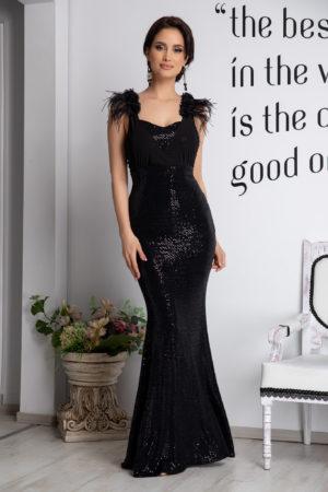 Rochie lunga neagra de seara stil sirena realizata cu insertii de paiete, voal si pene discrete Hypnose